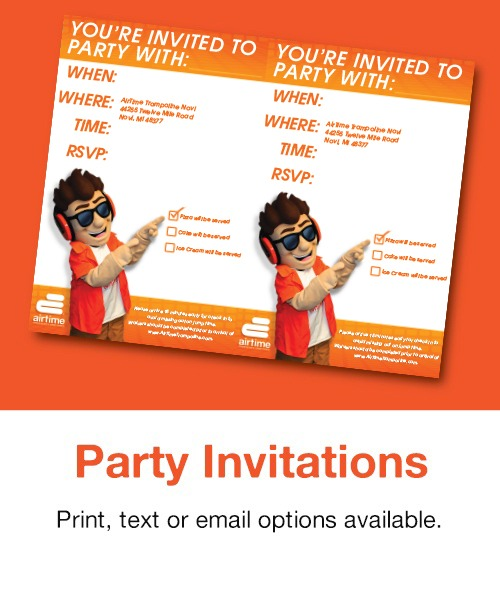 AirTime Trampoline Birthday Party Invitation