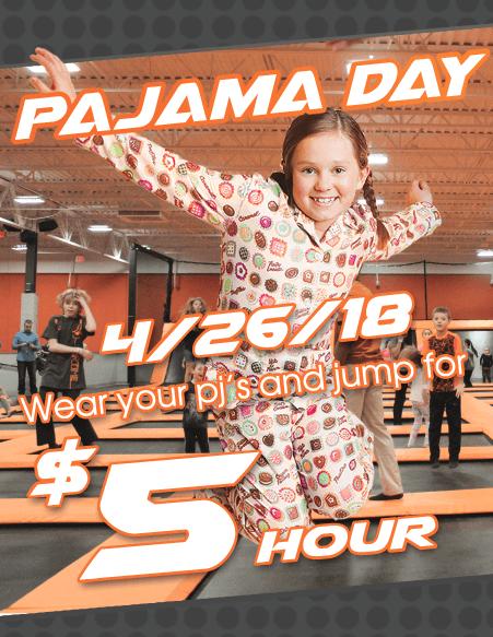 AirTime Trampoline Pajama Day April Promo